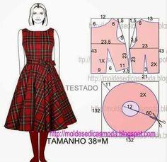 Moldes Moda por Medida: Easy to make retro inspired dress. Diy Clothing, Sewing Clothes, Dress Sewing Patterns, Clothing Patterns, Fashion Sewing, Diy Fashion, Sewing Hacks, Sewing Tutorials, Costura Fashion