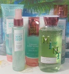Details about bath and body works coconut mint drop gift set 5 full size items - Bath & Body - 2019 Perfume Bath N Body Works, Body Wash, Body Soap, Body Lotion, Parfum Victoria's Secret, Bath And Body Works Perfume, Body Photography, Hacks, Smell Good
