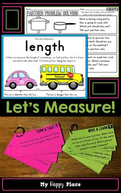 Measurement Activities, Anchor Charts, Worksheets for Kindergarten! Aligned to Common Core