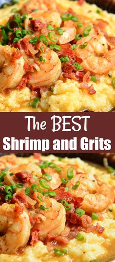 Southern Shrimp And Grits, Shrimp And Cheesy Grits, Shrimp Grits, Recipe For Shrimp And Grits, Cajun Grits Recipe, Charleston Shrimp And Grits Recipe, Shrimp And Polenta, Fish Recipes, Gastronomia