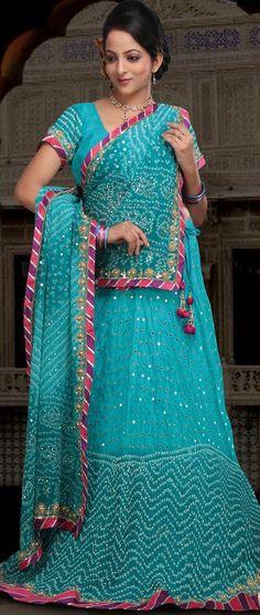 Sky #Blue Pure #Silk Bandhej Lehenga Choli with Dupatta @ $175.12 | Shop @ http://www.utsavfashion.com/store/sarees-large.aspx?icode=ljn490