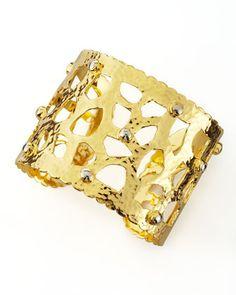 18k Gold Cutout Cuff Bracelet by Dina Mackney at Neiman Marcus.