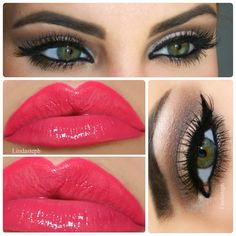 Neutral Smokey and bright lips.