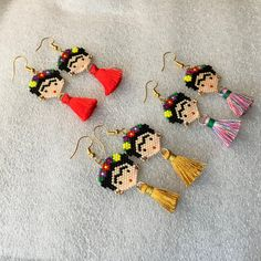 Items similar to Beautiful FRIDA colorful earrings, party earrings,family gifts, birthday gifts, holidays gift. Choose or one pair. on Etsy Quilling Patterns, Beading Patterns, Peyote Patterns, Beaded Earrings, Beaded Jewelry, Fringe Earrings, Handmade Jewelry, Macrame Bracelet Patterns, Seed Bead Crafts