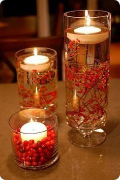 Floating Flames Cranberry Holiday Decorations