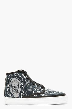 Black lace High-Top Sneaker.