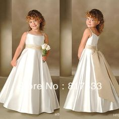 Online Shop flower girl dress patterns free cheap dresses for weddings western spaghetti strap pleated wasitband a line satin long Cute Girl Dresses, Girls Party Dress, Prom Party Dresses, Little Girl Dresses, Cheap Dresses, Baby Dress, Flower Girl Dresses, Girl Outfits, Wedding Dresses