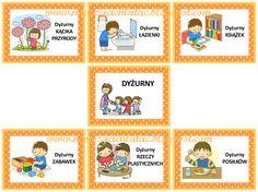 """""""Dyżurny ma obowiązków wiele podczas obiadu, podczas śniadania. Rozdaje sztućce, kubki, talerze, to są naprawdę trudne zadania. Sprawdz... Diy And Crafts, Crafts For Kids, Polish Language, Montessori, Origami, Kindergarten, Preschool, Playing Cards, Kids Rugs"""