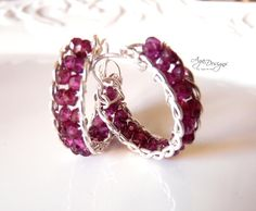 Hoops with garnet NEW video class on how to make these hoops at craftsy.com
