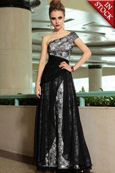 One Shoulder Black Sheer Floral Overlay A-line Long Formal Dress