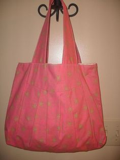 Pink Handmade Hand bag with Lime Green by rebeccaanndesigns, $40.00