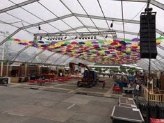 The view from the stage ;) Almost completed for the best edition ever of AgitÁgueda. #agitagueda #agitagueda2014 #agueda #jasofaltastu #music #concerts #umbrellas #streetart