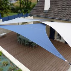 ...Nice layout of three triangle shade sails,