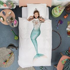 Mermaid Duvet and Pillowcase Set Guide your little swimmer into a deep blue dreamland with this whimsical bedding set. Mermaid Bedding, Mermaid Room, Mermaid Kids, Kids Collection, Black Bed Linen, Duvet Bedding Sets, Bedding Decor, Boho Bedding, Grey Bedding