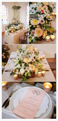 cutest table laid with a bounty of flowers and tea light candles as a centerpiece, hanging chandelier of leaves and candles above dining table. GREAT tablescape simple and sweet.