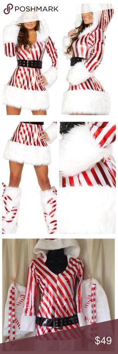 Santa Baby Candy Cane Christmas Dress Santa Baby Candy Cane Christmas Dress Costume includes white and red candy cane stripped print metallic stretch dress with faux fur cuffs, hem, and attached hood. Zipper front design with oversized belt. Candy cane boot covers and hat included. Size small. Dresses Mini