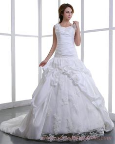 Flowers Straps Lace and Satin White Plus Size Bridal Ball Gowns