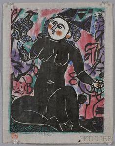Shiko Munakata - Woman with Hawk, 1956, woodblock on MutualArt.com