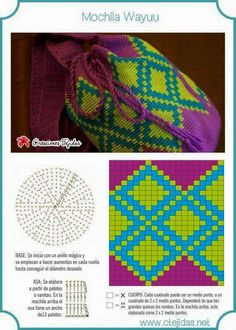 Mochila a Crochet Mochila Crochet, Bag Crochet, Crochet Shell Stitch, Crochet Purses, Crochet Chart, Crochet Motif, Crochet Stitches, Tapestry Crochet Patterns, Fillet Crochet