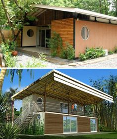 Bamboo Groove Housing -shipping container homes- with bamboo roofs and exteriors