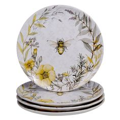 """""""Bee Sweet"""" is a charming ceramic dinnerware and serveware. Designed by Susan Winget, it features busy bees and flowers along with sweet sentiments and a unique beehive teapot. Dinner Plate Sets, Dinner Plates, Dinner Ware, Ice Cream Bowl, Cream Bowls, Decoupage, Dinnerware Sets, Yellow Dinnerware, Casual Dinnerware"""