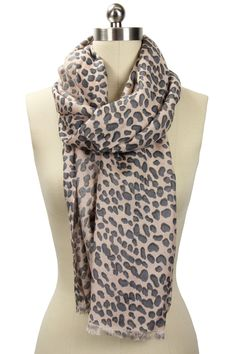 Leopard Print Cashmere Blend Scarf In Pink And Gray.