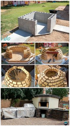 DIY Concrete Wood Fired Pizza Oven Instructions - DIY Outdoor Pizza Oven Ideas Projects DIY Outdoor Pizza Oven Ideas & Projects with Instructions: DIY Pizza Oven from bricks, concrete, earth, pallets at low cost. Diy Outdoor Wood Projects, Diy Outdoor Bar, Backyard Projects, Outdoor Ideas, Diy Projects, Wooden Projects, Pallet Projects, Patio Ideas, Backyard Ideas