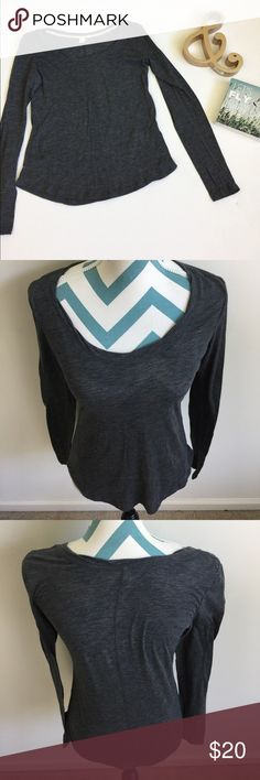 Anthropologie Eloise Top Like new dark gray long sleeve top with lots of stitching details. Soft, light, and stretchy polyester and cotton blend. No flaws! Anthropologie Tops