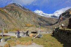 Rooftop terrace with solar panels in Til Village of Limi Valley, Humla