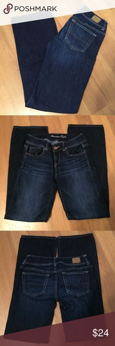 """American Eagle Jeans Stretch Slim Boot cut jeans! Dark wash. Size 4 Regular length. 31"""" inseam. 7"""" front rise. 5 pocket. 76% cotton 23% rayon 1% spandex. Pre loved in excellent condition!! American Eagle Outfitters Jeans Boot Cut"""