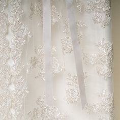 Penelope Heirloom Lace - Ivory Embroidery with Champagne outlining. Antique Inspired.