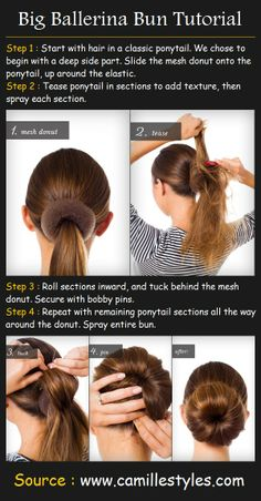Super Easy Updo Hairstyles Tutorials: Bouffant Bun This is a daisy bouffant bun which works better on small face structures. Updo Hairstyles Tutorials, Bun Hairstyles, Amazing Hairstyles, Wedding Hairstyles, Hairstyles Videos, Style Hairstyle, Summer Hairstyles, Trendy Hairstyles, Ballerina Bun Tutorial