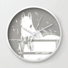 White Horse, Grey, Wall Clock
