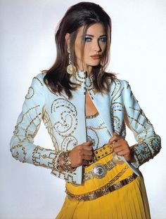 Carla Bruni in Gianni Versace Ensemble, photographed by Patrick Demarchelier, 1991