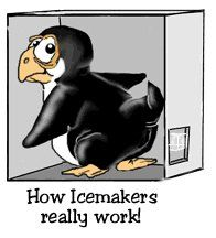 Funny Penguins | ... penguin - Cartoon of penguin pooping ice like ice maker- Funny Picture