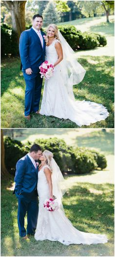 Preppy wedding fashion, blue groom's suit, pink tie, classic lace wedding dress, veil, follow this board for more preppy wedding inspiration // Sarah Bradshaw Photography