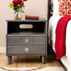 The Marley modular nightstand features a modern design with generous storage to accommodate all your bedtime essentials. Finished in light charcoal grey, this handsome nightstand offers two generous drawers and a spacious open shelf. Nightstand Plans, White Nightstand, 2 Drawer Nightstand, Bedroom Furniture Stores, Furniture Deals, Wood Furniture, Furniture Outlet, Online Furniture, Furniture Websites
