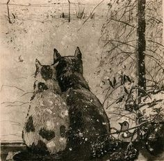 Cats watching the snow, nice.