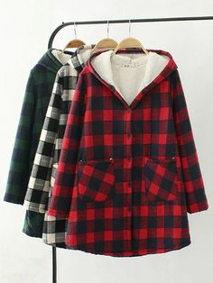 Shop a great selection of Winter Sale-Women Fashion Plaid Plus Velvet Thicken Hooded Long Sleeve Warm Button Coat. Find new offer and Similar products for Winter Sale-Women Fashion Plaid Plus Velvet Thicken Hooded Long Sleeve Warm Button Coat. Plus Size Outerwear, Plus Size Coats, Outerwear Women, Ghana, Georgia, Pullover Mode, Korea, Coats For Women, Clothes For Women