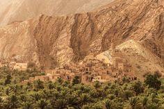 Sentinelle de terre au pied du djebel Akhdar, le vieux village de Birkat al-Mawz domine une palmeraie luxuriante alimentée par un falaj.