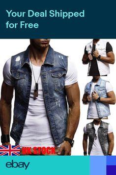 81efdbf409 Mens Retro Denim Vest Jeans Slim Fit Jacket Sleeveless Cowboy Biker  Waistcoats