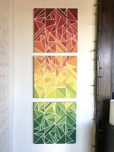 Geometric Color Fragments by LauraNieland on Etsy - Art - Diy Canvas Art, Diy Wall Art, Diy Art, Geometric Painting, Geometric Art, Painters Tape Art, Tape Painting, Multiple Canvas Paintings, Art N Craft