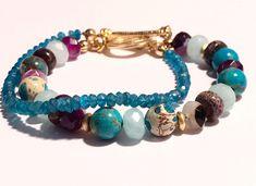 Excited to share the latest addition to my #etsy shop: Boho Bracelet - Boho Gemstone Bracelet - Boho Multi Strand Gemstone Bracelet - Boho Purple Jasper & Apatite Bracelet - Stacking - Layering