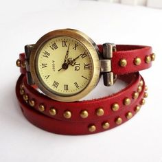 Retro Rivet Punk Leather Bracelet Bangle Wrist Vintage Watch