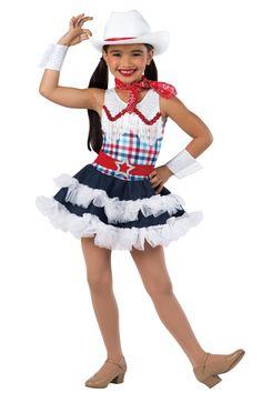 Style# 17159 COUNTRY STAR Multi-color gingham printed spandex, silver sequined white spandex and navy spandex leotard with attached denim skirt. Separate red spandex belt. Star buckle, sequin braid, fringe and chiffon ruffle trim. Headpiece, scarf and cuffs included. XSC-XXLA