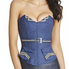aae2c103121 Halloween Sexy Denim Navy Style Overbust Side Zipper Belt Pocket Cosplay  Bustiers Corset  women