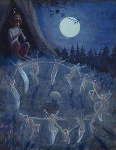 enchantedbook: Dance of the Fairies by Peggy L. - Lucifer in Starlight. Vintage Fairies, Fairytale Art, Forest Fairy, Fairy Art, Renaissance Art, Moon Art, Psychedelic Art, Surreal Art, Pretty Art