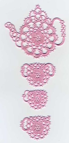 Beautiful tatted antique rose tea set, by Martha Ess