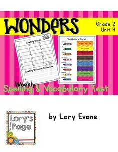 Using+the+McGraw+Hill+Wonders+Reading+Program? This+file+might+help+you+assess+your+student's+spelling+and+vocabulary+skills. Print+them+back+to+back+to+save+paper+and+confusion+each+week.  Bonus: For+week+6+-+an+additional+set+of+tests+was+created+with+chosen+words+from+weeks+1-5.