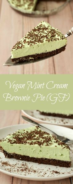 Mint Cream Brownie Pie #vegan
